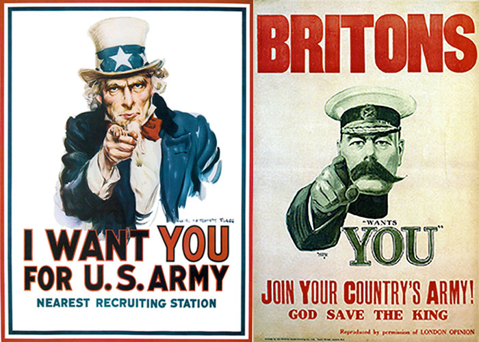 "Side by side posters of James Montgomery Flagg's poster ""I Want You For U.S. Army"" (left) and Alfred Leete's ""Britons, Lord Kitchener Wants You To Join Your Country's Army. God Save The King"" (right)"
