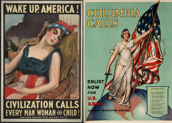 "Side by side posters of ""Wake Up America"" and ""Columbia Calls"""