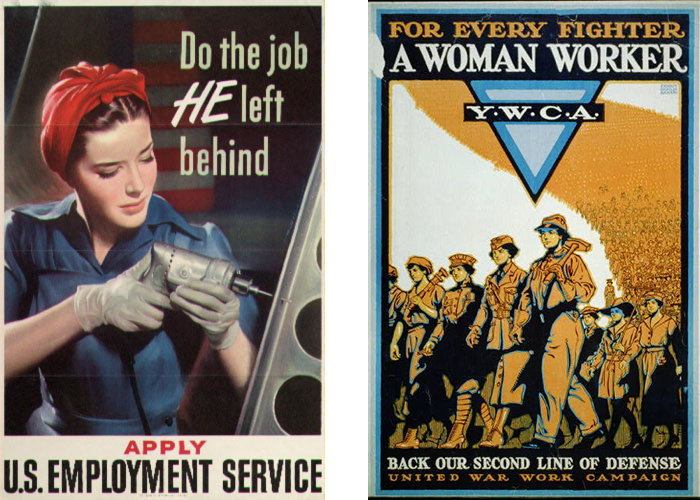 "Side by side posters of ""Do the job he left behind"" and ""For every fighter a woman worker"""