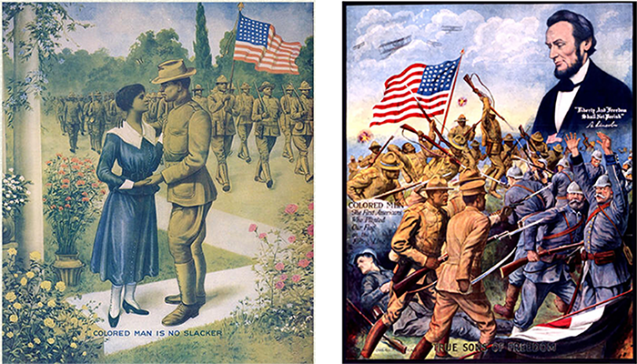 Side by side WW1 posters of African American soliders