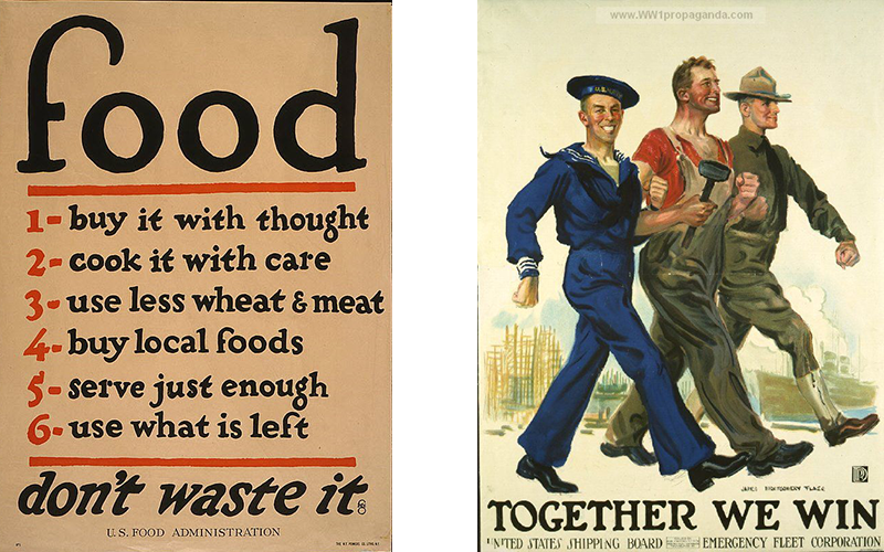 "Posters of ""Food Don't Waste It"" and ""Together We Can"""