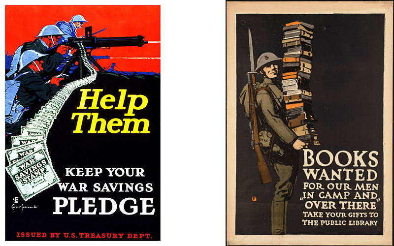 "Posters of ""Help Them"" and ""Books Wanted"""