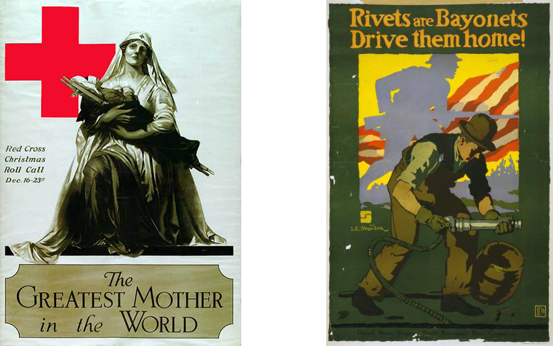 "Posters of ""The Greatest Mother"" and ""Rivets are Bayonets"""