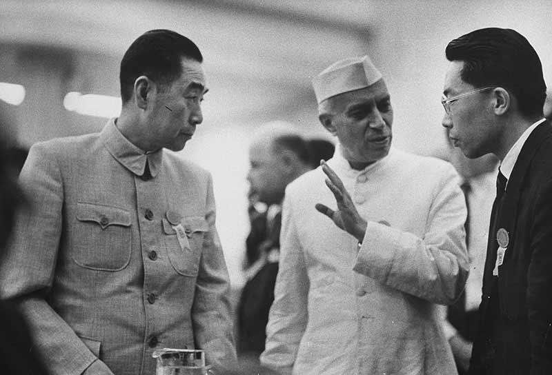Pandit Jawaharlal Nehru with Zhou Enlai (left), Bandung conference, 1955. He didn't think China would attack us. (Photograph by Getty Images)